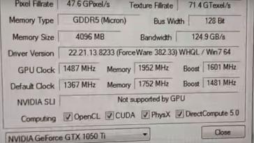 Gigabyte GTX 1050ti zcash